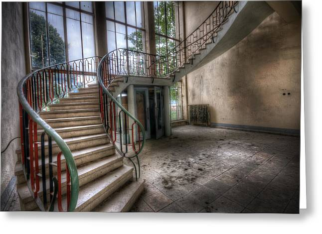 Creepy Digital Greeting Cards - Water pump stairs Greeting Card by Nathan Wright