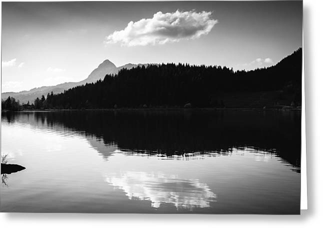 Water Reflection Black And White Greeting Card by Matthias Hauser