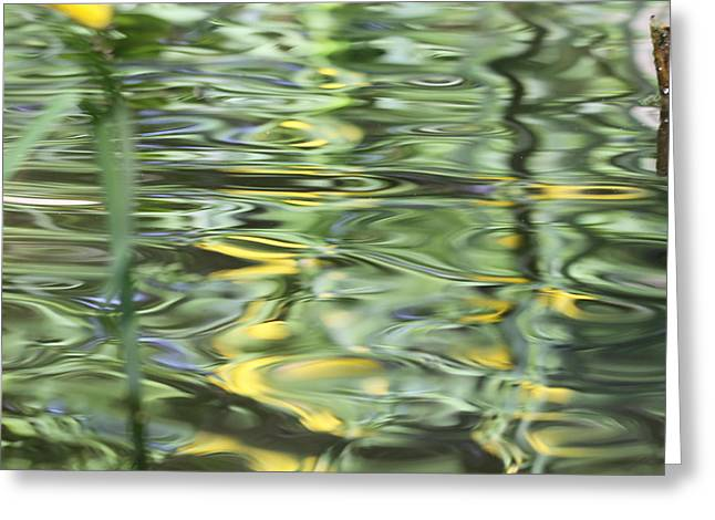 Green And Yellow Abstract Greeting Cards - Water Reflection Green And Yellow Greeting Card by Dan Sproul