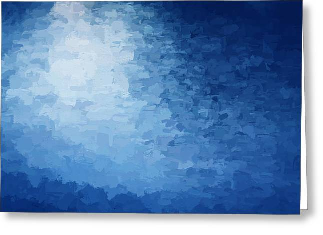 Sunset Abstract Greeting Cards - Water Reflections Abstract Blue Greeting Card by Rich Franco