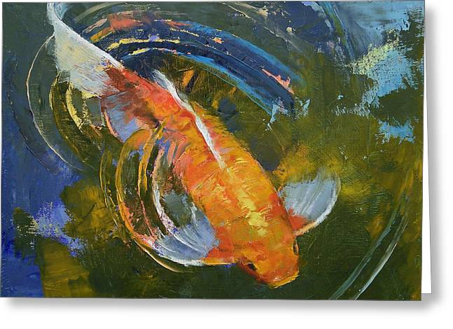 Koi Pond Greeting Cards - Water Ripples Greeting Card by Michael Creese
