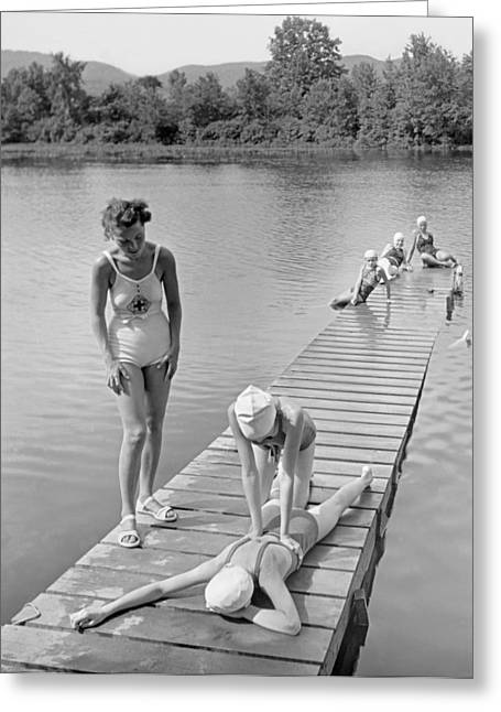 Water Safety At Camp Perkins Greeting Card by Underwood Archives