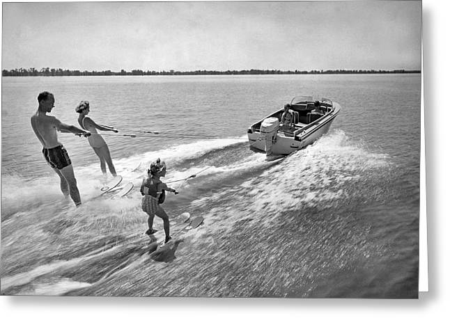 Water Skiing At Cypress Garden Greeting Card by Underwood Archives