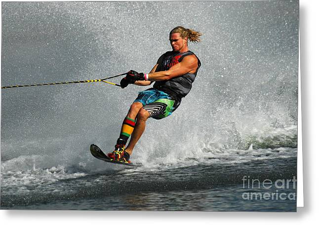 Water Skiing Magic Of Water 24 Greeting Card by Bob Christopher