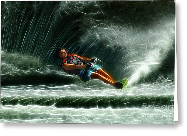 Canadian Photographer Greeting Cards - Water Skiing Magical Waters 1 Greeting Card by Bob Christopher