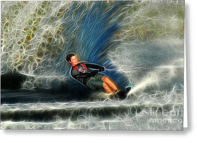Skiing Fine Art Greeting Cards - Water Skiing Magical Waters 3 Greeting Card by Bob Christopher