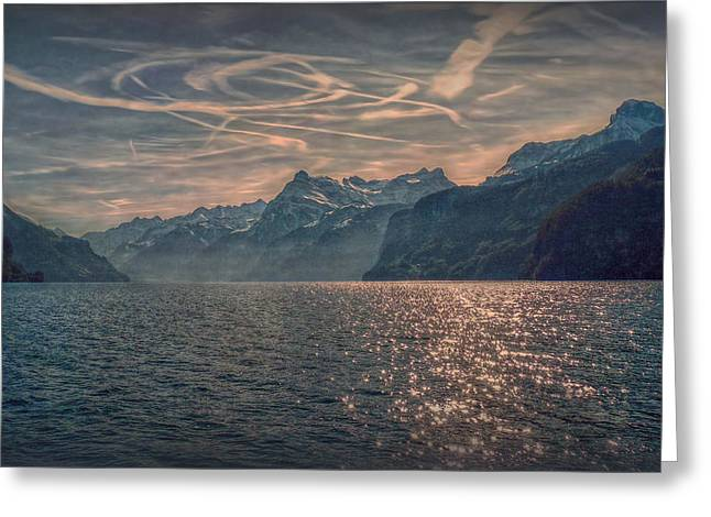 Himmel Greeting Cards - Water Sky and Mountains Greeting Card by Hanny Heim