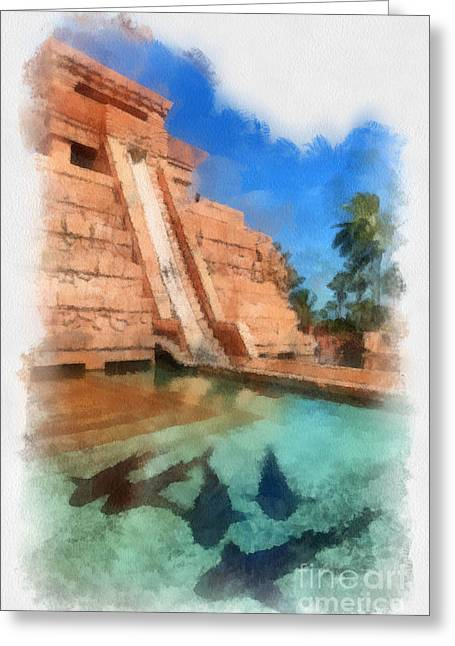Sharks Digital Art Greeting Cards - Water Slide at the Mayan Temple Atlantis Resort Greeting Card by Amy Cicconi
