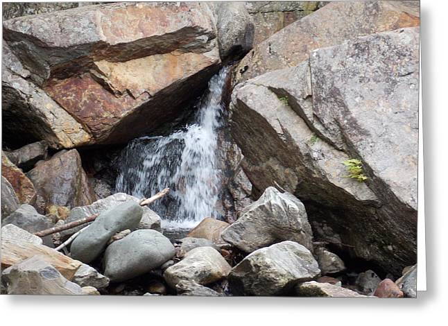 Buttermilk Falls Greeting Cards - Water Sneaking Past Boulders Greeting Card by Catherine Gagne