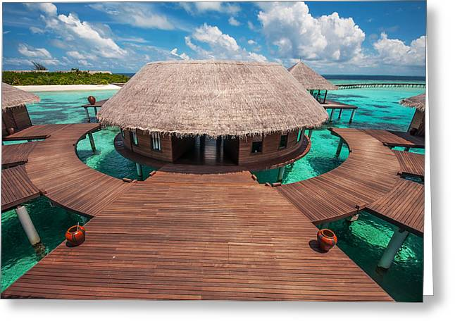 Tropical Oceans Greeting Cards - Water SPA  Center. Maldives Greeting Card by Jenny Rainbow