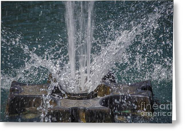 Beads Of Water Greeting Cards - Water Spray Greeting Card by Dale Powell