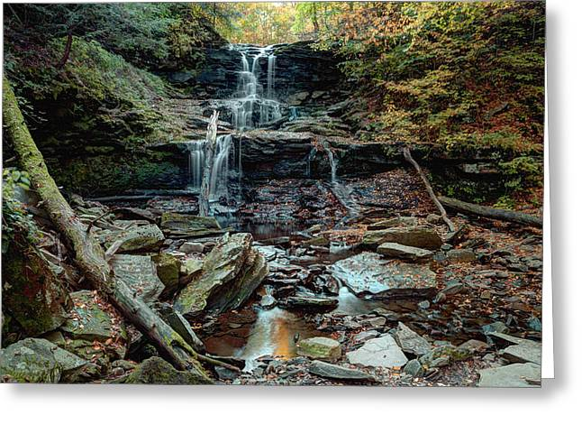 Tuscarora Greeting Cards - Water Starved Tuscarora Falls Greeting Card by Gene Walls