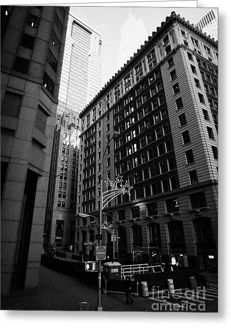 Manhatan Greeting Cards - Water Street Entrance To Wall Street Junction Financial District New York City Greeting Card by Joe Fox