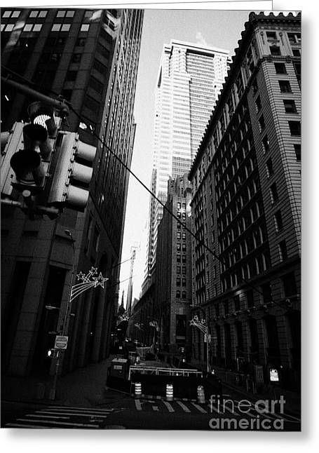 Water Street Entrance To Wall Street Junction Financial District New York City Usa Greeting Card by Joe Fox