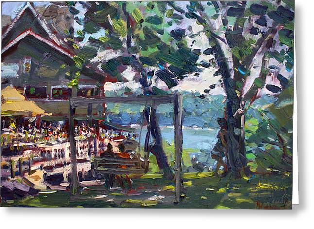 Landing Paintings Greeting Cards - Water Street Landing Restaurant in Lewiston Greeting Card by Ylli Haruni