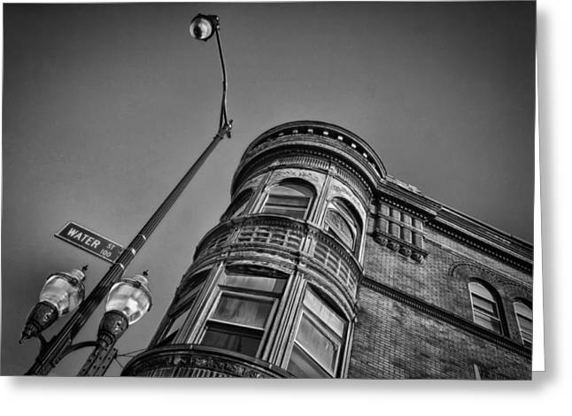Streetlight Greeting Cards - Water Street Greeting Card by Mike Burgquist