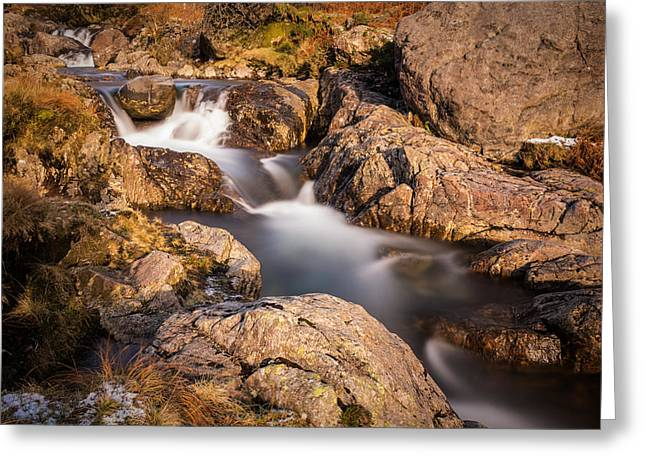 Flowing Greeting Cards - Water Through The Rocks. Greeting Card by Daniel Kay