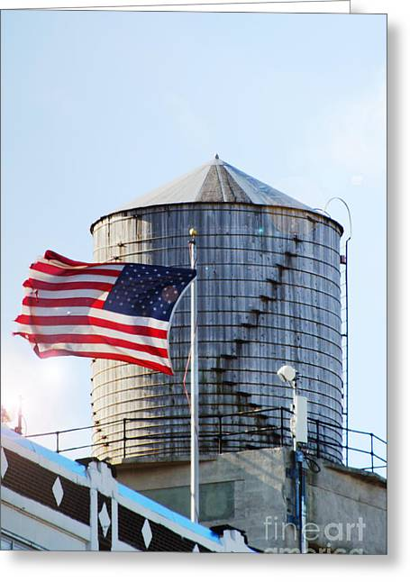 Water In Cave Greeting Cards - Water tower Americana Greeting Card by Anahi DeCanio