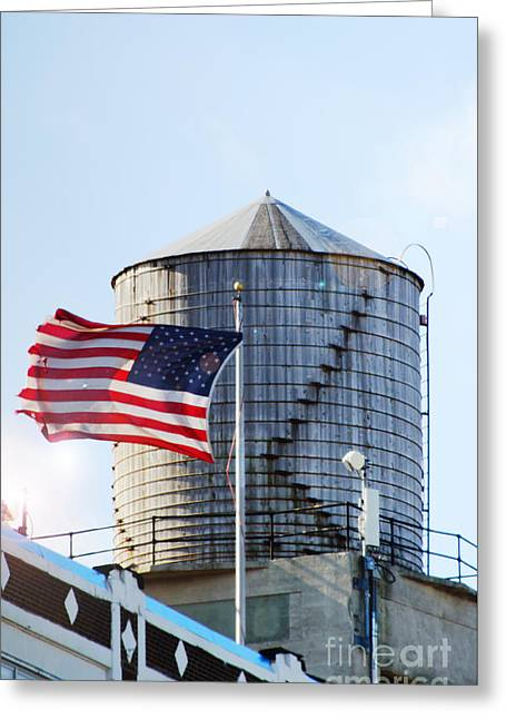 Water In Cave Greeting Cards - NY Water tower  American Flag Greeting Card by Anahi DeCanio
