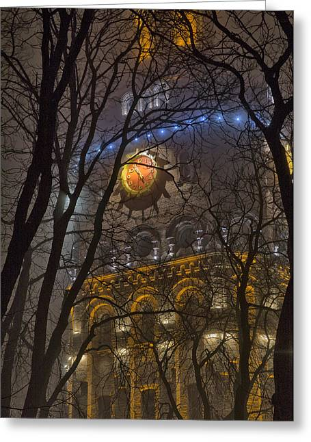 Water Tower At Night 1 Greeting Card by Zoriy Fine