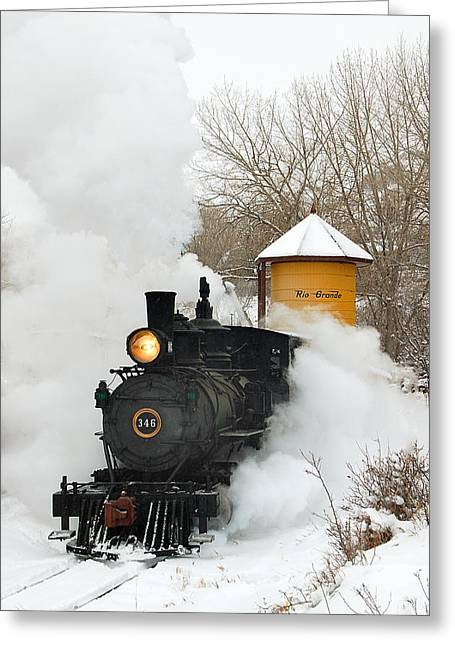 Winter Photos Greeting Cards - Water Tower behind the Steam Greeting Card by Ken Smith