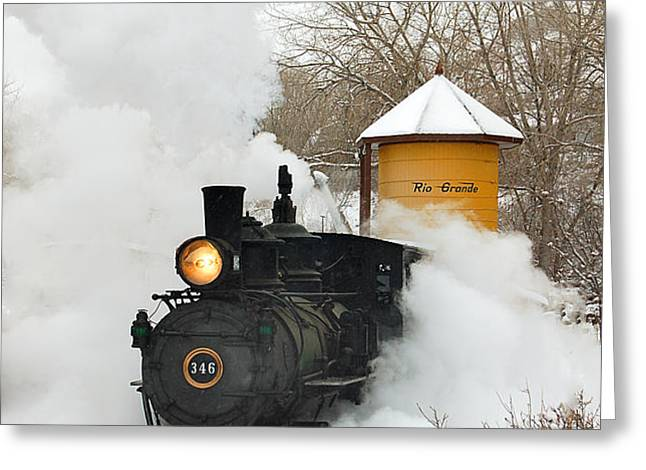 Water Tower behind the Steam Greeting Card by Ken Smith