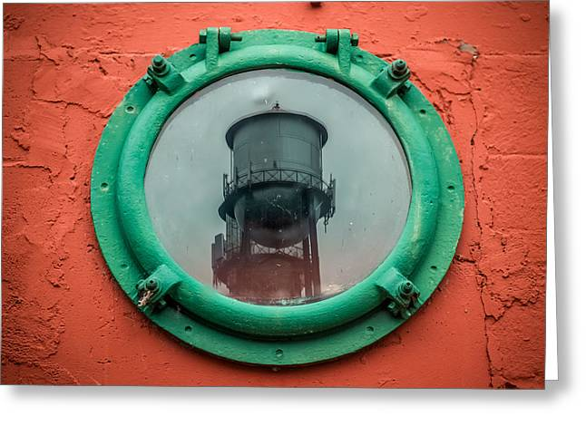 Water Tower Reflection Greeting Card by Paul Freidlund
