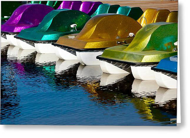 Boats In Reflecting Water Photographs Greeting Cards - Water Toys Greeting Card by Art Block Collections