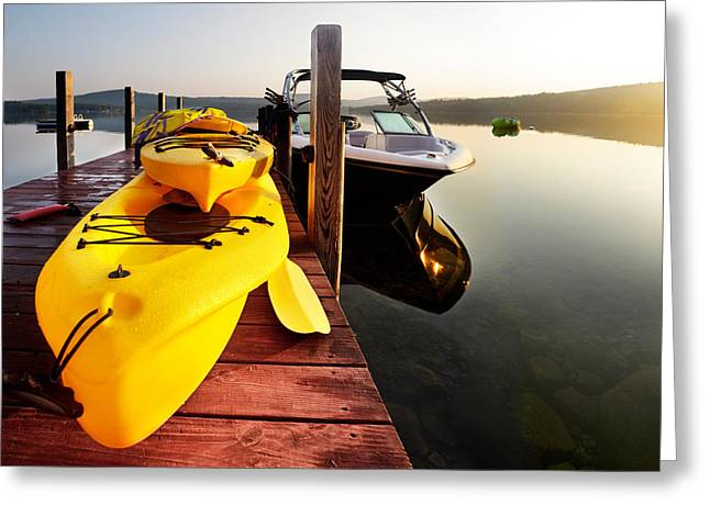 Wooden Platform Greeting Cards - Water toys for the lake Greeting Card by Jo Ann Snover