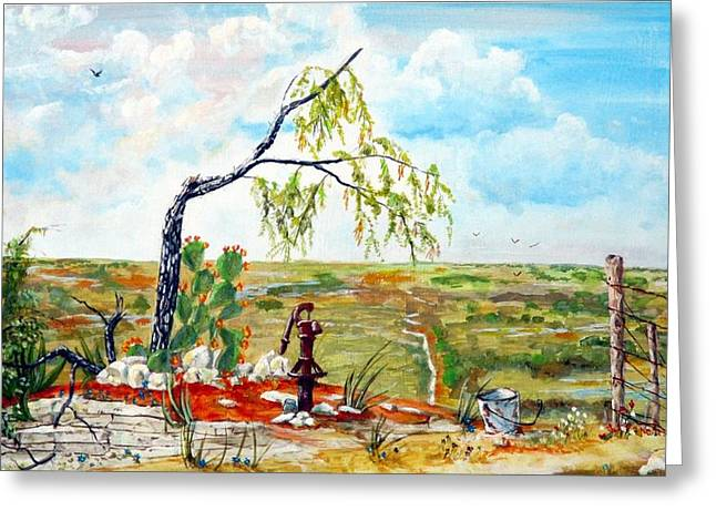 Featured Art Greeting Cards - Southwest Texas Water Tree Greeting Card by Michael Dillon