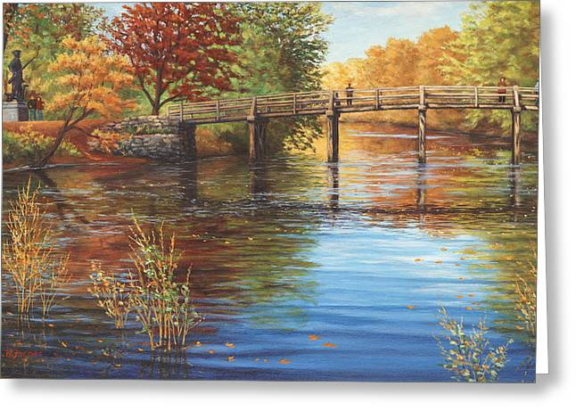Best Sellers -  - Concord Greeting Cards - Water Under the Bridge Old North Bridge MA Greeting Card by Elaine Farmer