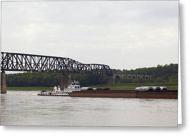 Railroad Tug Greeting Cards - Water Under the Bridge - towboat on the Mississippi Greeting Card by Jane Eleanor Nicholas