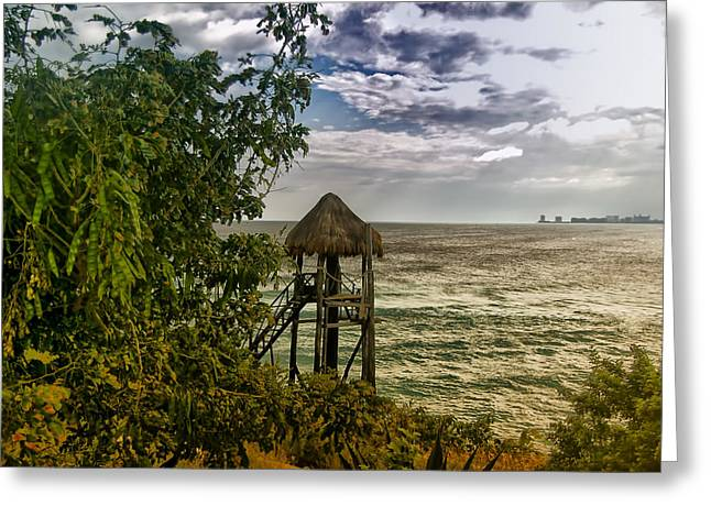 Mujeres Greeting Cards - Water View - Isle Mujeres Greeting Card by Jon Berghoff
