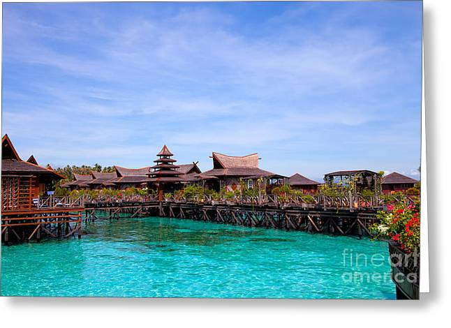 Exoticism Greeting Cards - Water village Borneo Malaysia Greeting Card by Fototrav Print