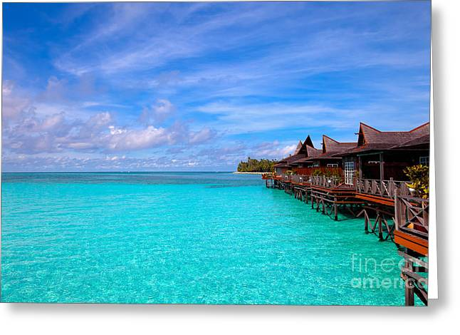Floating House Greeting Cards - Water village on tropical island Greeting Card by Fototrav Print