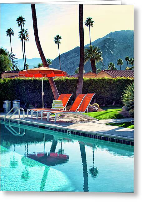 Deck Chairs Greeting Cards - WATER WAITING Palm Springs Greeting Card by William Dey