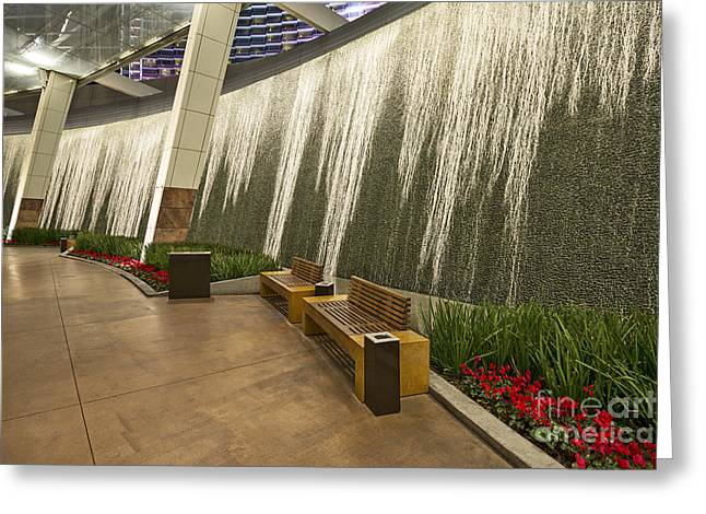 Front Entrance Greeting Cards - Water Wall - Aria Resort Las Vegas Greeting Card by Jamie Pham