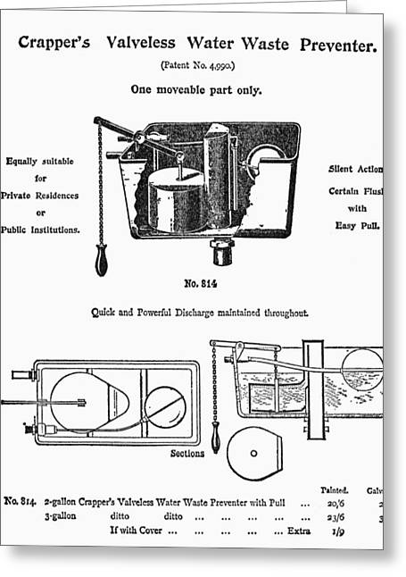 1880s Greeting Cards - Water Waste Preventer Greeting Card by Granger