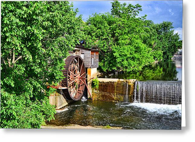 """oldest Wood Building"" Greeting Cards - Water Wheel at Old Mill Greeting Card by Larry Bishop"