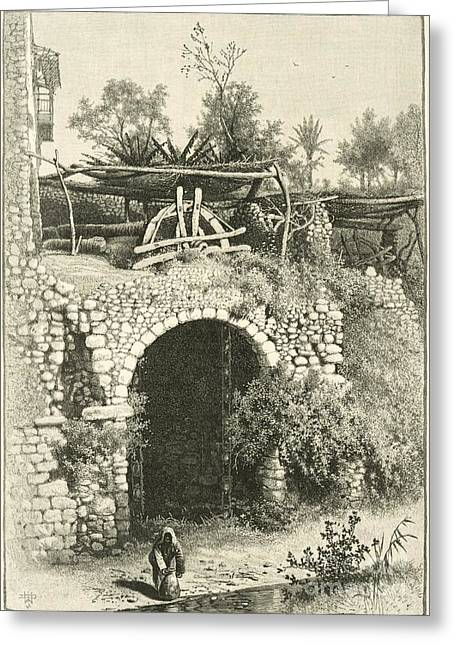 1880s Greeting Cards - Water Wheel In Egypt, 1880s Greeting Card by Dorot Jewish Division