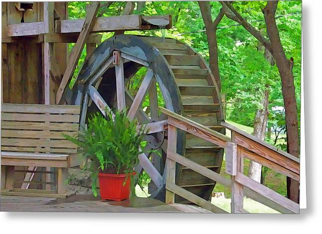 Arkansas Mixed Media Greeting Cards - Water Wheel Greeting Card by Julie  Grace