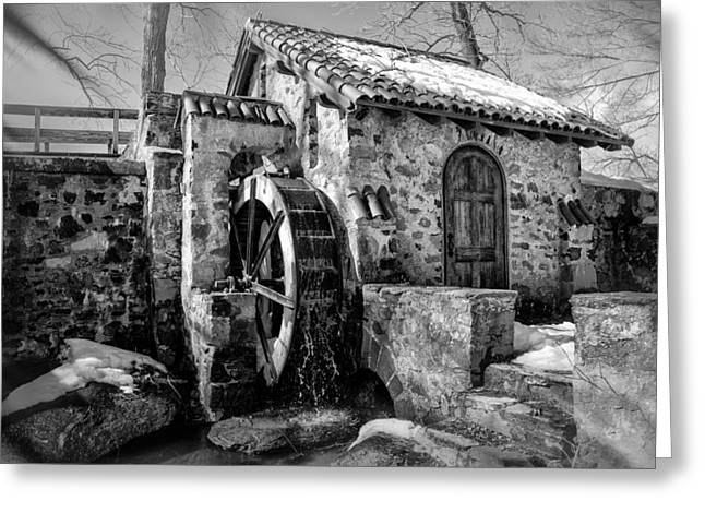 Radnor Greeting Cards - Water Wheel Mill at Eastern College in Black and White Greeting Card by Bill Cannon