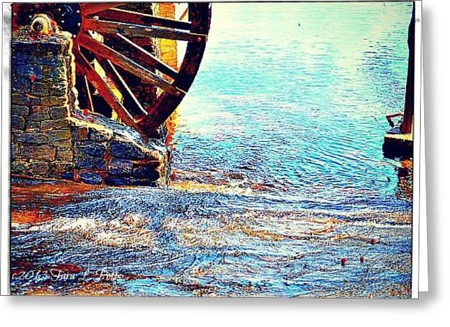 Grist Mill Greeting Cards - Water Wheel Perspective Greeting Card by Tara Potts
