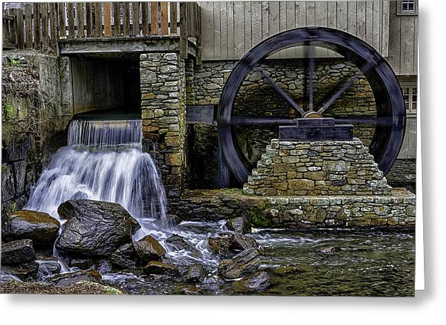 Grist Mill Greeting Cards - Water Wheel Plimouth Grist Mill at Jenney Pond Greeting Card by Myer Bornstein