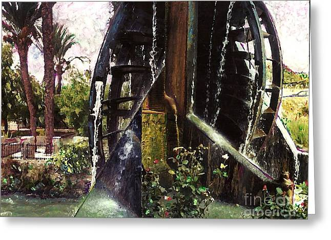 Europe Mixed Media Greeting Cards - Water Wheel Greeting Card by Sarah Loft