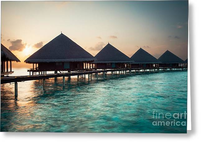 Hannes Cmarits Greeting Cards - Waterbungalows At Sunset Greeting Card by Hannes Cmarits
