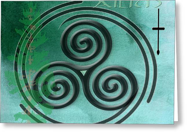 Mystic Art Greeting Cards - Watercolor Ailim Symbol Greeting Card by Kandy Hurley