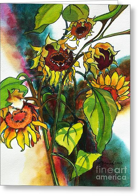 Crucifix Mixed Media Greeting Cards - Sunflowers on the Rise Greeting Card by Kathy Braud