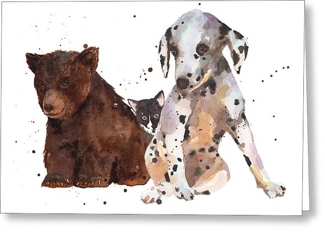 Dalmatian Greeting Cards - Watercolor Animal Painting Greeting Card by Alison Fennell