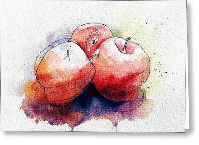 Loose Watercolor Greeting Cards - Watercolor Apples Greeting Card by Andrew Fling